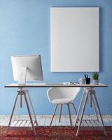 3D illustration of poster frame template, workspace mock up