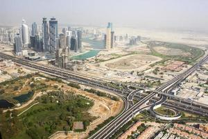 Dubai downtown from helicopter