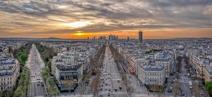 Aerial view to la Defense area at sunset photo