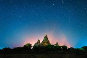 star above ancient pagoda
