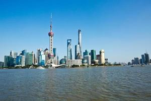 beautiful cityscape of Shanghai under the blue sky photo