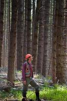 Forester in a Pacific Northwest forest photo