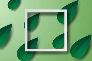 Green Leaf 3D Paper Art Frame  vector