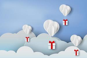 3D Paper Balloons with Gifts in Clouds