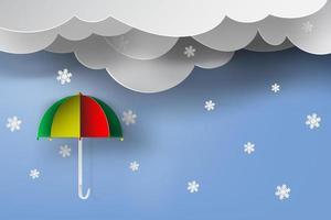 Umbrella with winter season vector