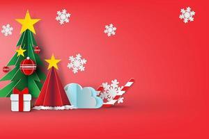 Christmas 3D Paper Art Design  vector