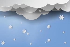 Layered Paper Snowing Winter Background vector