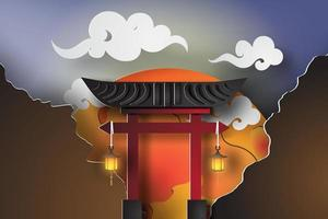 Japanese Gate 3D Paper Art Style  vector
