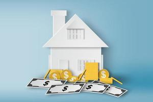 Paper House with Coins and Dollar Bills  vector