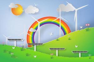 Green Wind Turbine Solar Energy 3D Paper Art Design  vector