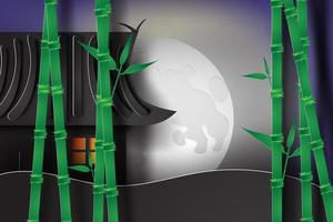 Japanese House with Moon and Bamboo