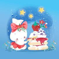 Rabbit eating strawberry cake vector