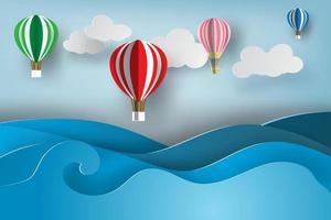art papier, montgolfières, sur, océan vecteur