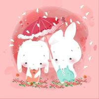 Rabbits lovers with pink umbrella