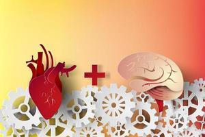 concetto di cuore e cervello di arte di carta vettore