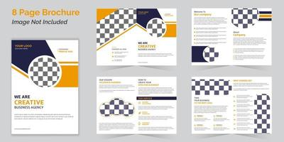 Business bi-fold brochure template collection with 8 pages
