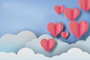 Red Heart Balloon Sky Paper Art Design  vector