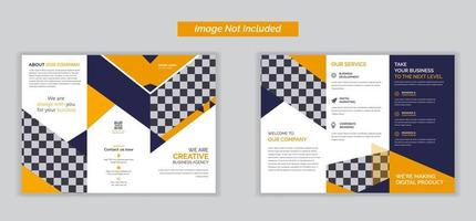 Orange triple folding brochure for business and advertising,brochure design, brochure template, creative tri-fold, trend brochure