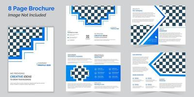 Business bi-fold blue brochure design template or magazine