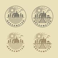 Cabin Wood Lake Mono Line Logos vector