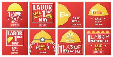 Set of Labor Day Sales Banners  vector