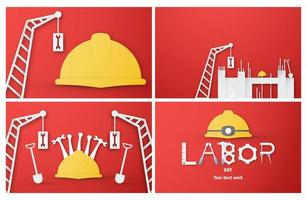 Labor Day Background Cut Paper Set