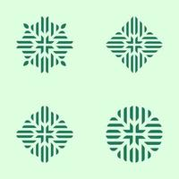 logo conjunto de patrón floral geométrico verde vector