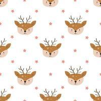 Hand Drawn Cute Deer Face Seamless Pattern  vector
