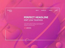 Pink Fluid Gradient Shapes Landing Page Template