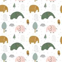 Kids Pattern with Cute Elephants