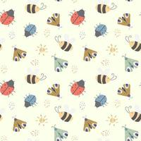 Kids Seamless Pattern with Cute Insects  vector