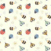patrón sin costuras para niños con insectos lindos