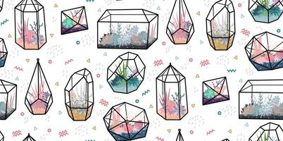 Geometric terrariums with plants vector