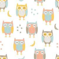 Hand Drawn Cute Owl Seamless Pattern  vector