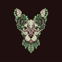 gato floral egípcio abstrato vetor