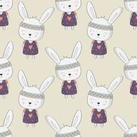 Kids Cute Bunny Rabbit with Hearts Seamless Pattern  vector