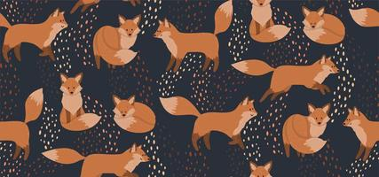 Cute seamless pattern with red foxes vector