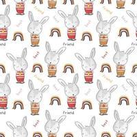 lindo mejor amigo conejo de patrones sin fisuras vector