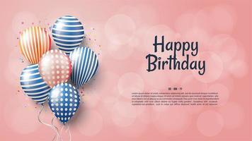 feliz aniversário em fundo rosa