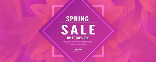 banner de ventas de primavera rosa abstracta