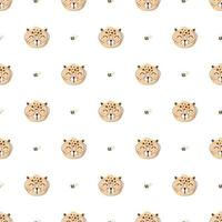 Seamless Pattern with Cute Leopard  vector