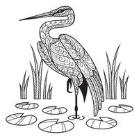 Crane Coloring Book for Adult vector