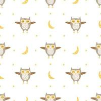 Kids Pattern with Cute Owls with Moon
