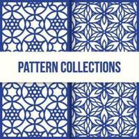 patrones de estrellas de flor azul vector
