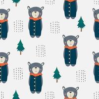 Cute Bear Standing Seamless Pattern  vector