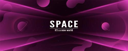 3D Purple Black Space Banner