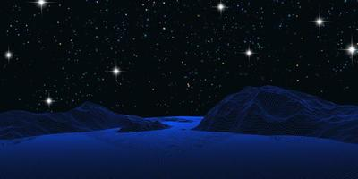 Wireframe landscape against a starry night sky