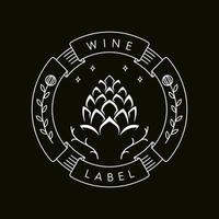cadre d'étiquette de vin mono ligne vecteur
