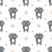 Hand Drawn Cute Winter Koala Seamless Pattern  vector