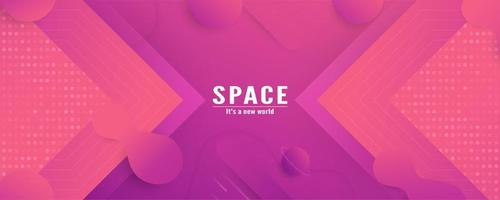 Pink Geometric Layers Gradient Banner